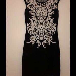 Dresses & Skirts - Black with white pattern stretch knit dress